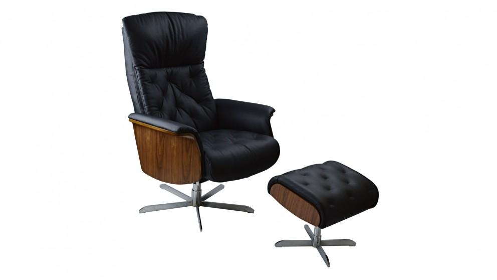 Zeus Leather Recliner u0026 Footstool  sc 1 st  Harvey Norman & Zeus Leather Recliner u0026 Footstool - Recliner Chairs - Living Room ... islam-shia.org