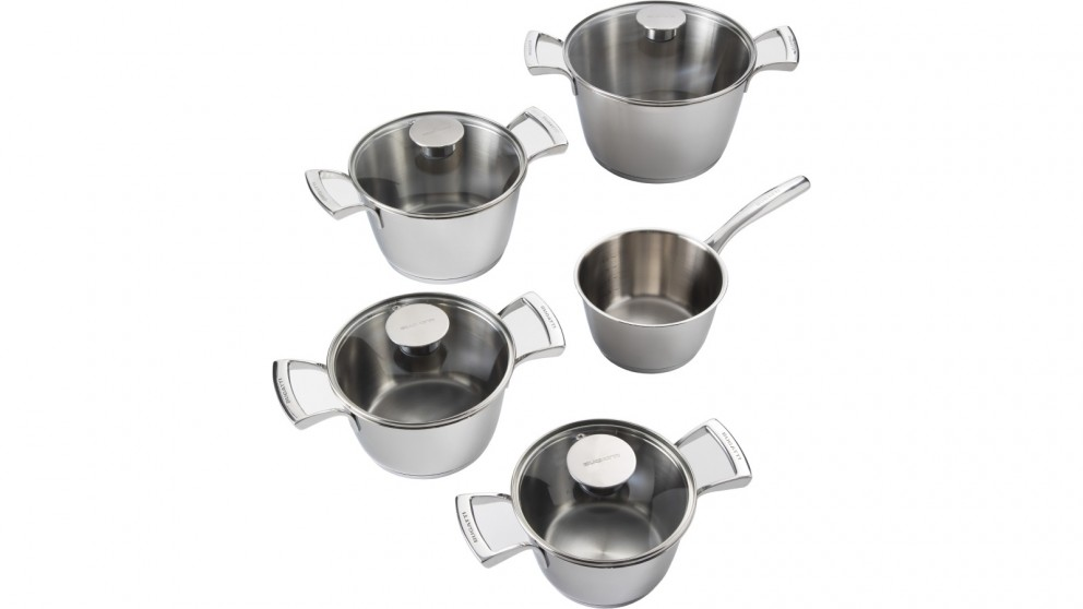 Bugatti 9-Piece Cookware Set with Glass Lids - Stainless Steel