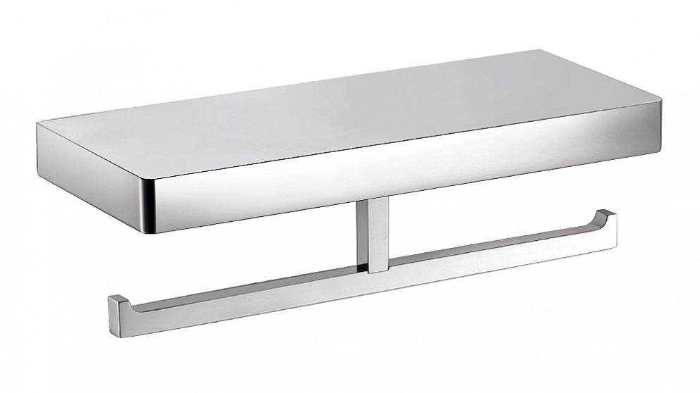 Arcisan Zara Chrome Toilet Roll Holder with Shelf