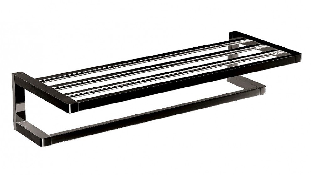 Arcisan Zara Matte Black 60cm Towel Rack with Rail