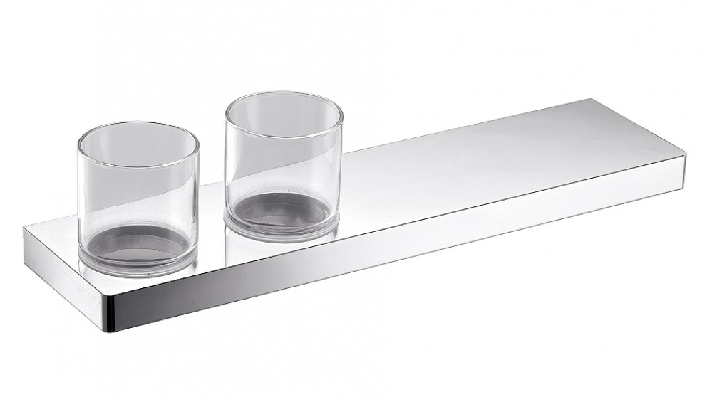 Arcisan Zara Chrome 40cm Shelf with Double Glass Holder