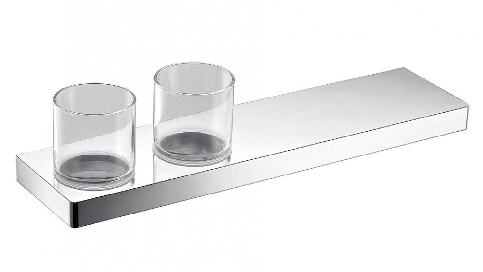 Arcisan Zara Chrome 40cm Shelf with Double Glass Holder