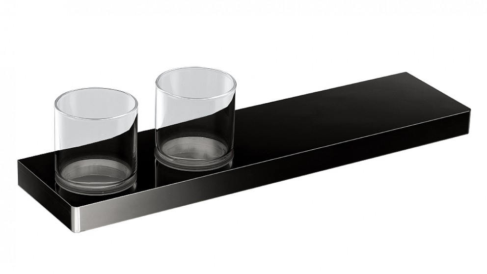 Arcisan Zara Matte Black 40cm Shelf with Double Glass Holder