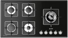 ILVE 90cm 5 Burner Gas Cooktop with Black Glass Surface