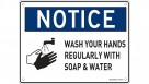 """Sandleford Medium Sign PP 300mm x 225mm """"Wash Hands Regularly with Soap Water"""""""