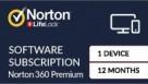 Norton 360 Premium Digital Download - 12 Months for 1 Device