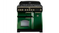 Falcon Classic Deluxe 900mm Dual Fuel Freestanding Cooker - Racing Green Brass