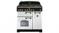 Falcon Classic Deluxe 900mm Dual Fuel Freestanding Cooker - White Brass