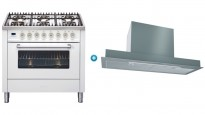 ILVE 900mm Freestanding Cooker (Bright White) with Undercupboard Rangehood