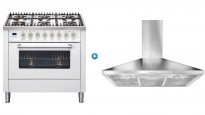 ILVE 900mm Freestanding Cooker (Bright White) with Canopy Rangehood
