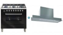 ILVE 900mm Freestanding Cooker (Gloss Black) with Undercupboard Rangehood