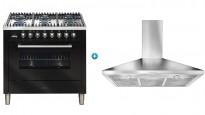 ILVE 900mm Freestanding Cooker (Gloss Black) with Canopy Rangehood