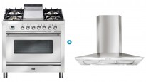ILVE 900mm Teppanyaki Freestanding Cooker with Slimline Canopy Rangehood