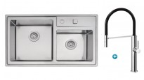 Linsol Quadrum Double Bowl Sink & Luca Sink Mixer Package