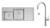 Linsol Quadrum Plus Double Bowl Sink & Sottile Kitchen Sink Mixer Package