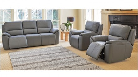Mark MKII 3 Piece Powered Leather Recliner Lounge Suite