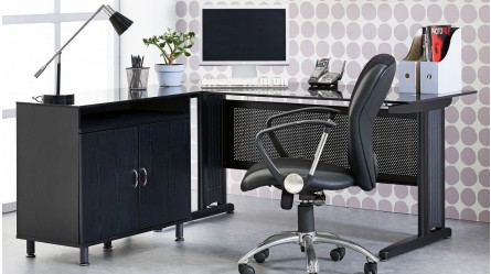 Apex 1600mm Office Desk   Black