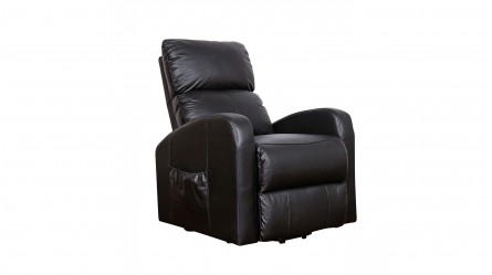 Logan Leather Lift Chair   Black