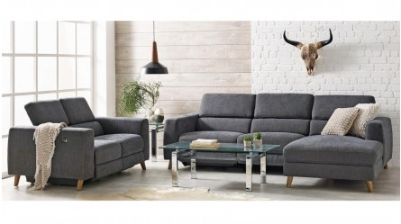 Como 3 Seater Fabric Powered Recliner Sofa With Chaise