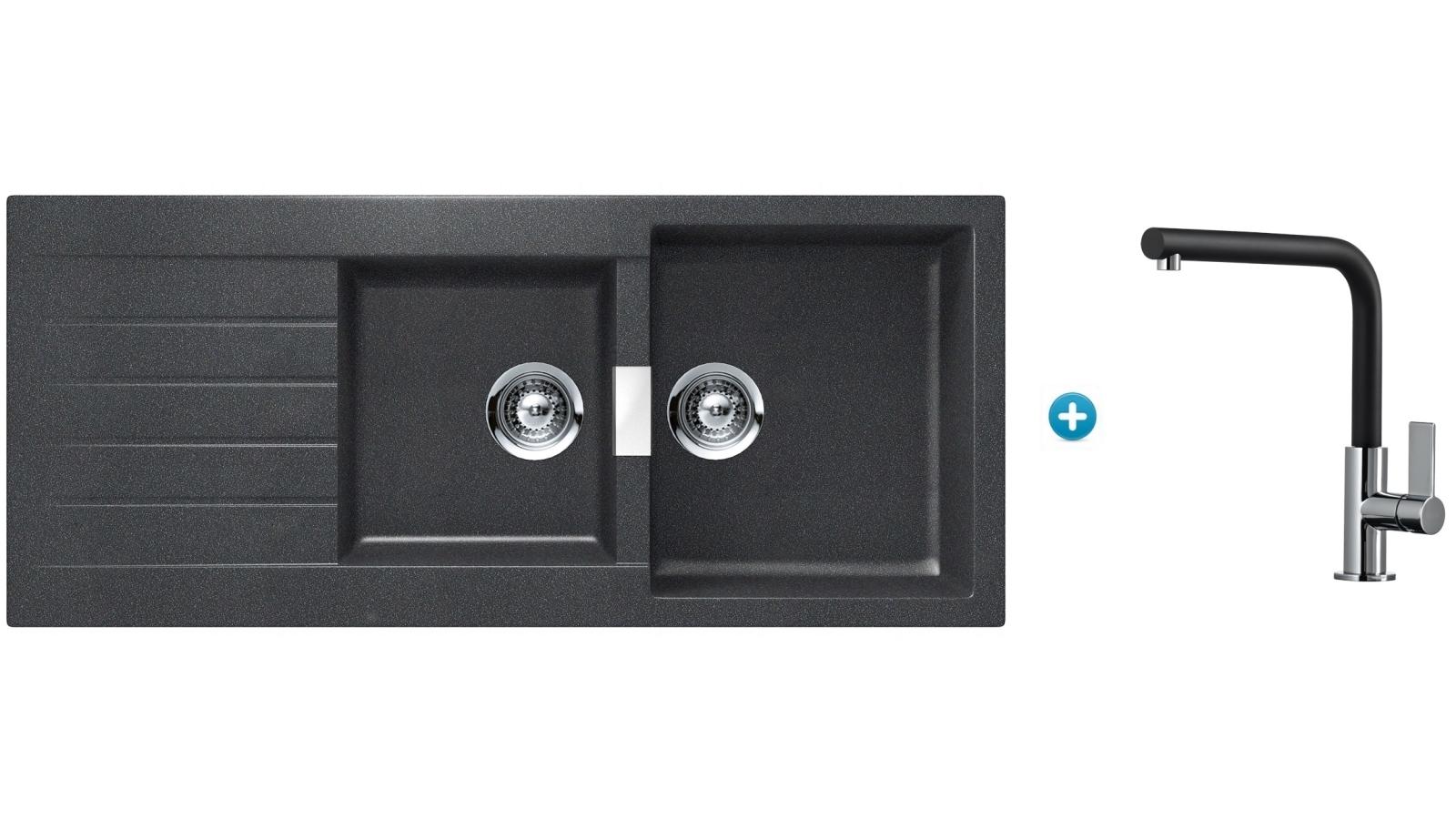 Buy abey schock signus kitchen sink and mixer package black harvey norman au