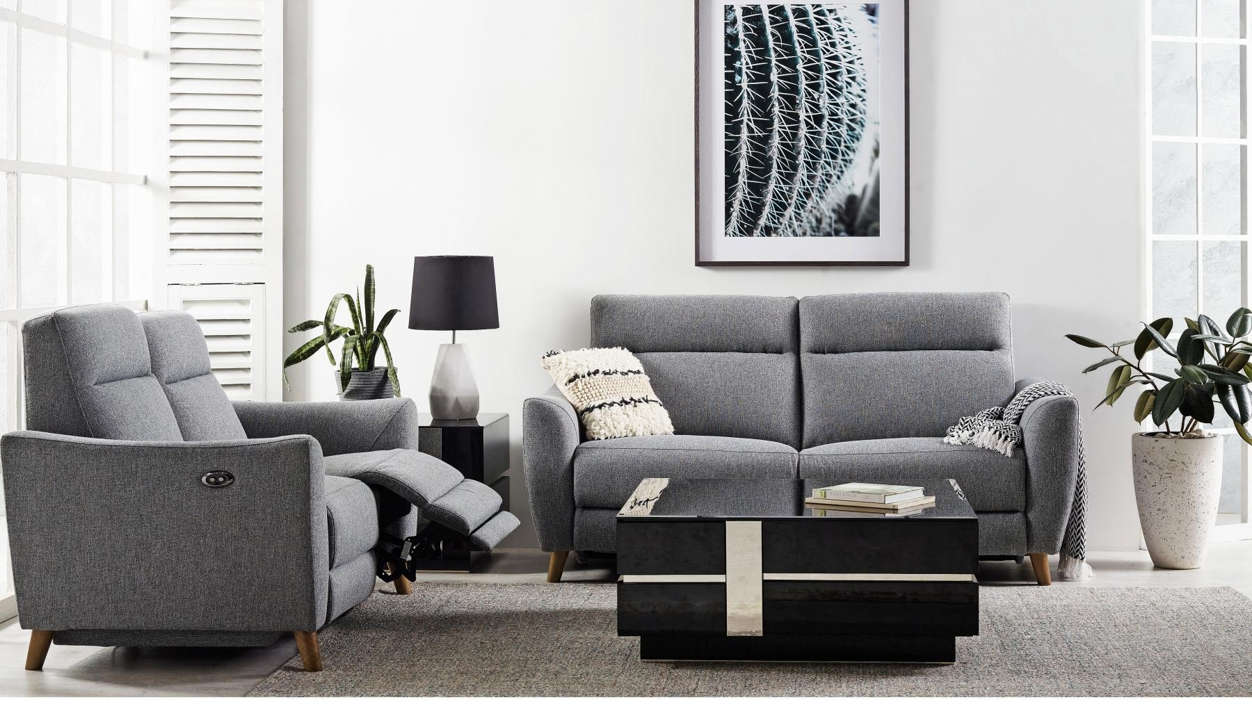 Buy angie 2 5 seater powered fabric recliner sofa harvey norman au