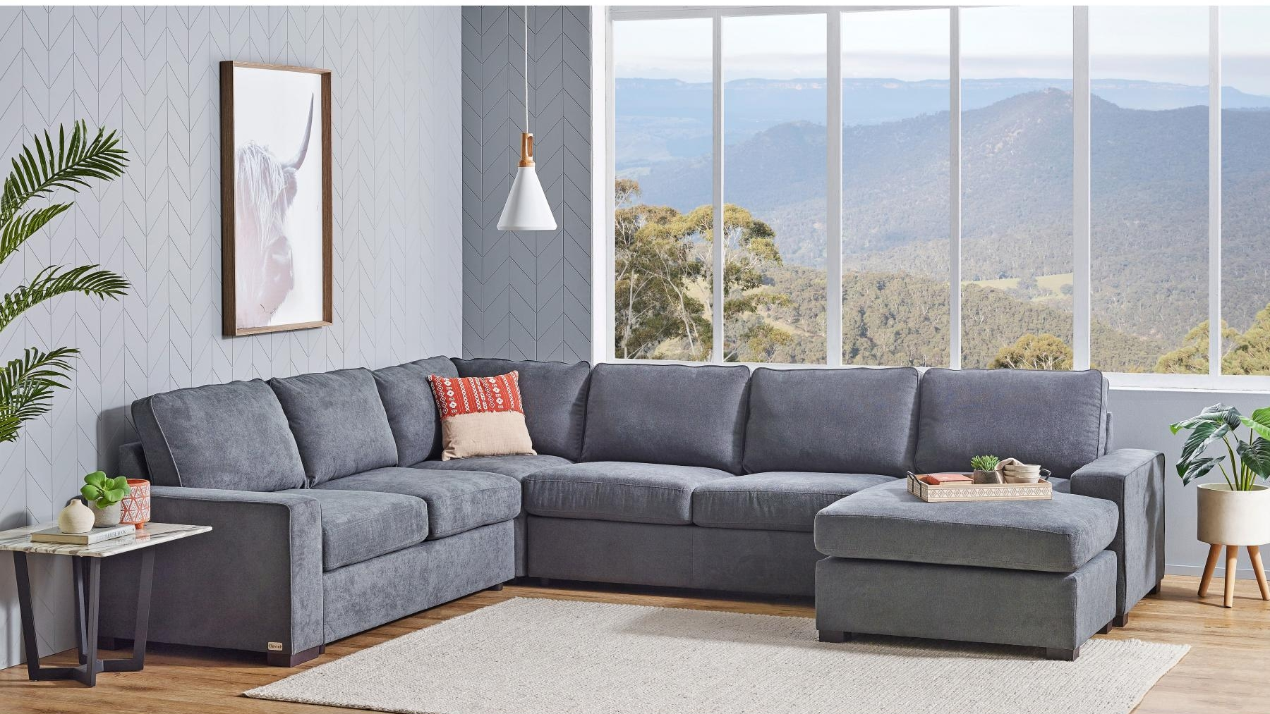 Picture of: Buy Bronson 6 Seater Modular Lounge Suite With Sofa Bed Harvey Norman Au