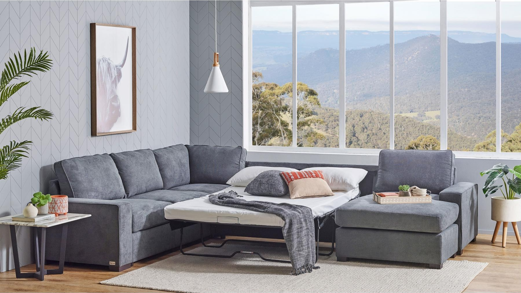 Bronson 4-Seater Modular Lounge Suite with Sofa Bed