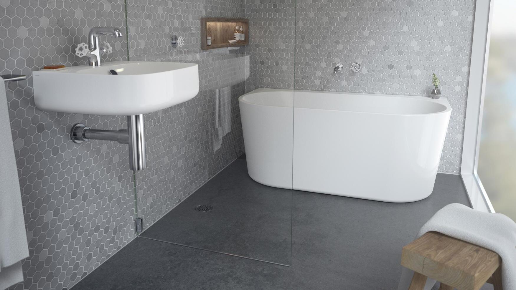 Buy Caroma Aura 1600mm Back to Wall Freestanding Bath | Harvey Norman AU