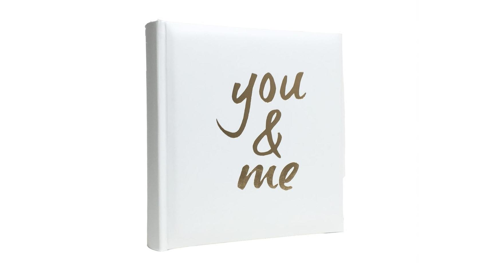 Image of Platinum Moda 'You&Me' Slip-In 4x6 200 Photo Album - White