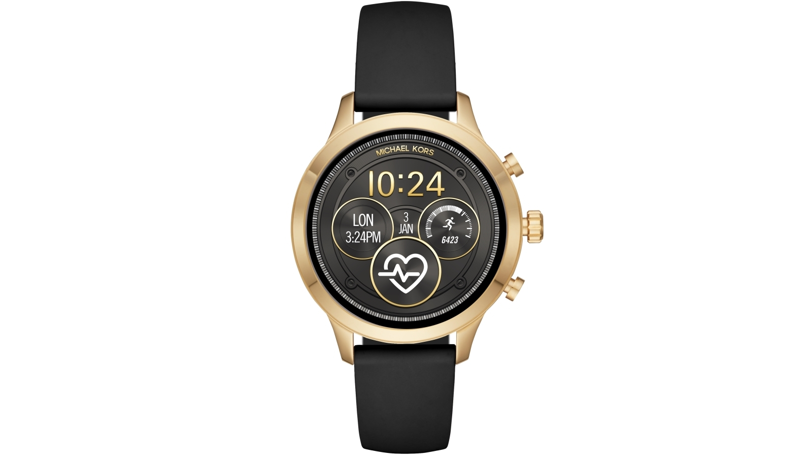 aed0a17c0cce Buy Michael Kors Runway Black Smart Watch with Gold Tone Case ...
