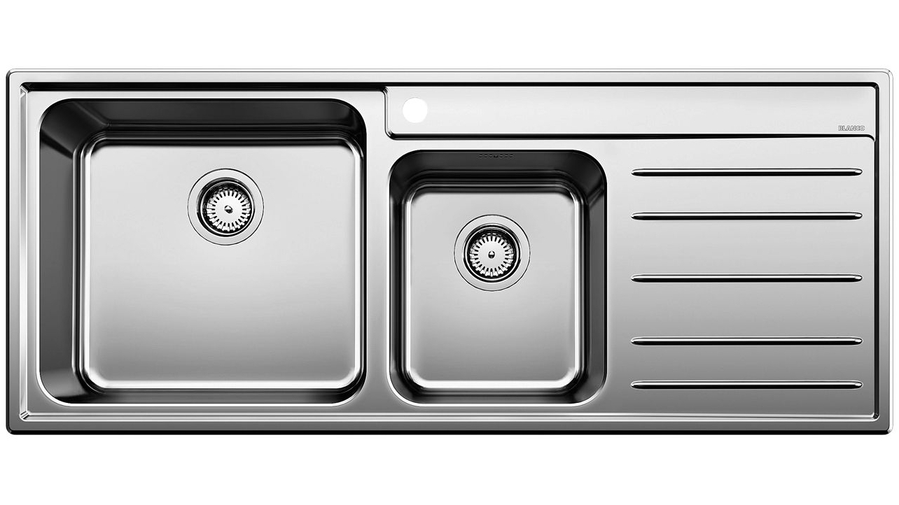 Picture of: Cheap Blanco Stainless Steel Left Hand Double Bowl Sink With Draining Board Harvey Norman Au