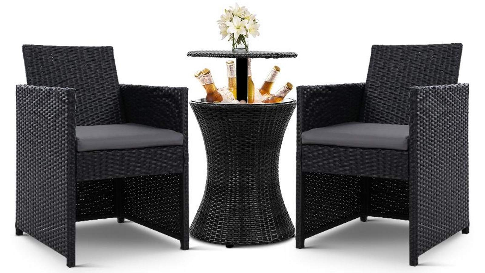 Buy Gardeon Wicker Outdoor Bar Table Set Black Harvey Norman Au
