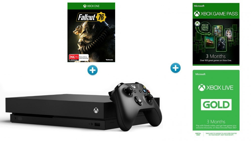 Xbox One X 1TB Console + 3 Months Game Pass + 3 Months Xbox Live Gold  Subscription + Fallout 76