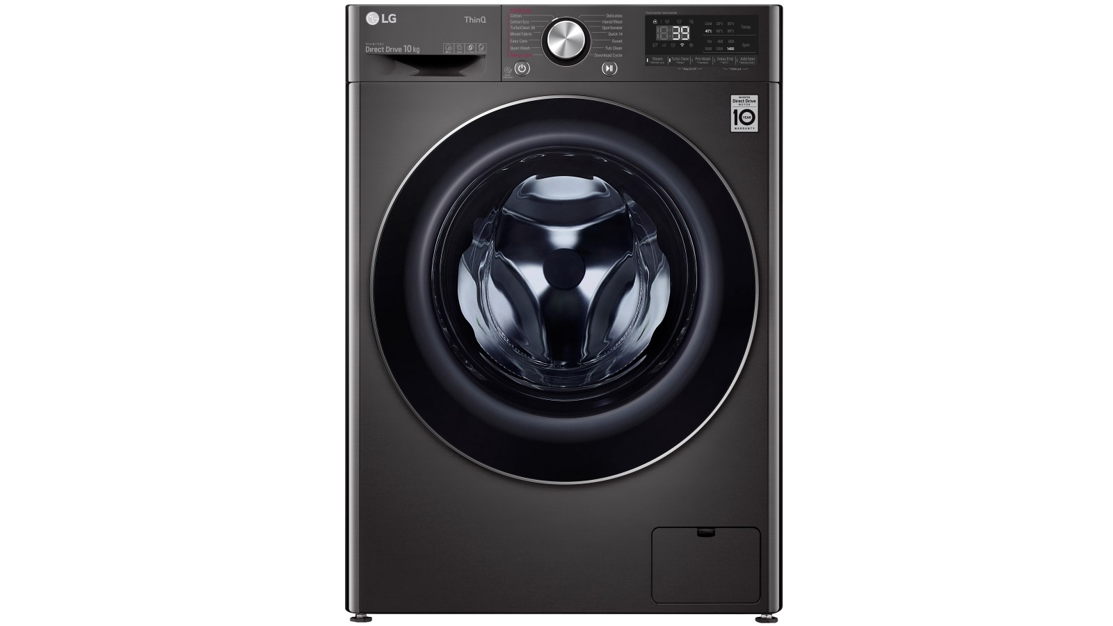 Image of LG Series 9 10kg Front Load Washing Machine with Turbo Clean 360 - Black Steel