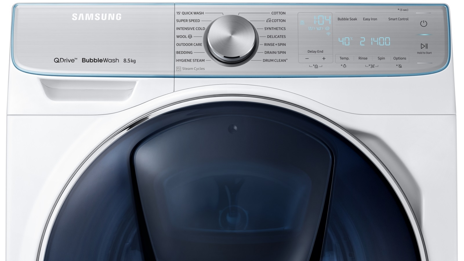 Samsung 8 5kg QuickDrive Crystal Blue Door Front Load Washing Machine with  Steam