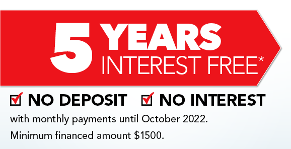 5 Years Interest Free - With Monthly Payments