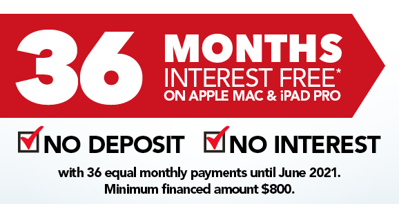 36 Months Instalment Interest Free on Apple Mac & iPad Pro - With Equal Monthly Payments