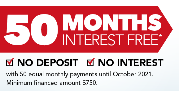 50 Months Interest Free - With Equal Payments
