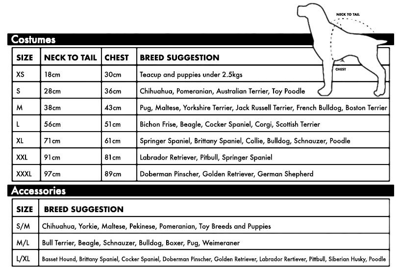 Pet Size Chart Costume