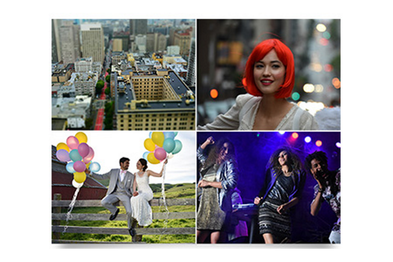 City, red-haired lady, country wedding, disco