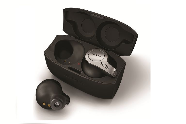 The Jabra Elite 65t arbuds and charging case