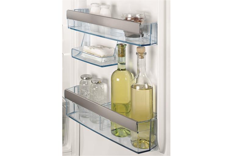 The 276L fridge's door storage compartments