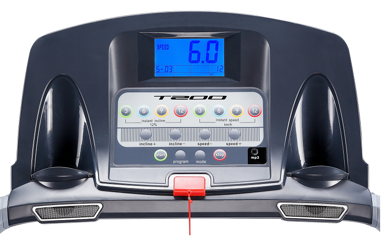 The T200 treadmill control console