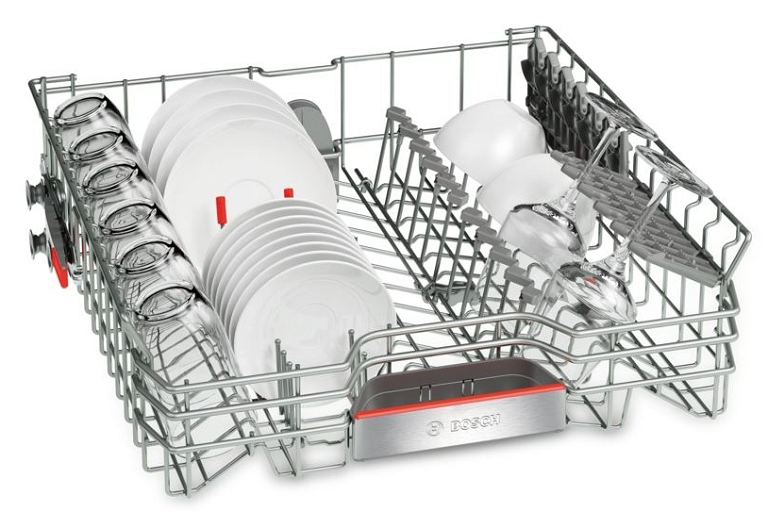The top rack of the Bosch freestanding dishwasher