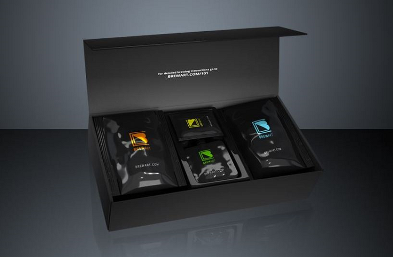 An open BrewPrint kit with individual ingredient sachets inside