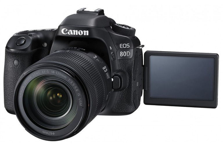 The Canon 80D camera with adjustable viewing screen flipped out