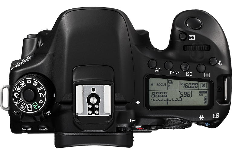 Overhead view of the Canon digital camera