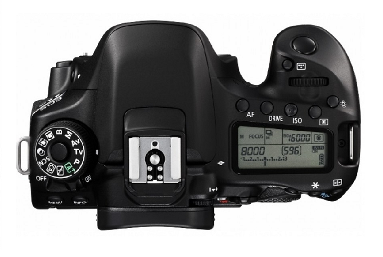 Overhead view of the Canon DSLR camera