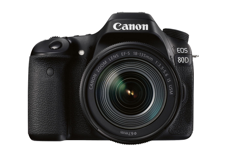 Front view of Canon 80D without lens