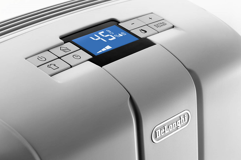 The DeLonghi Dehumidifier's control panel